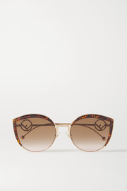 Fendi Cat-eye tortoiseshell acetate, enamel and gold-tone sunglasses