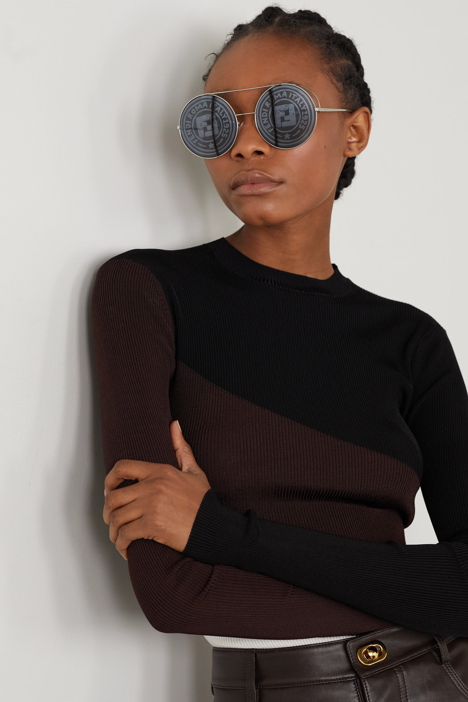 Fendi Round-frame silver-tone sunglasses