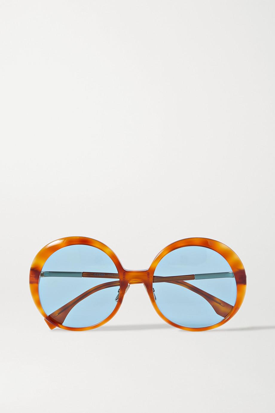 Fendi 玳瑁纹板材圆框太阳镜
