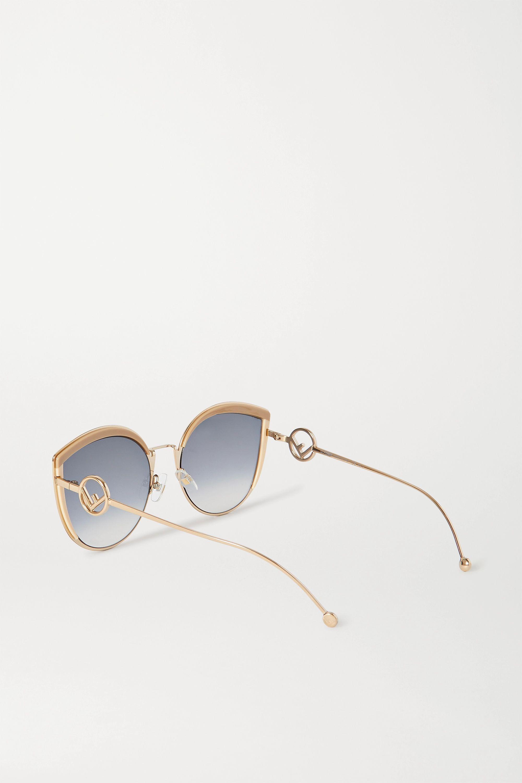 Fendi Goldfarbene Cat-Eye-Sonnenbrille mit Emaille