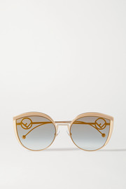 Fendi Cat-eye enamel and gold-tone sunglasses