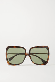 Fendi Oversized square-frame tortoiseshell acetate and gold-tone sunglasses