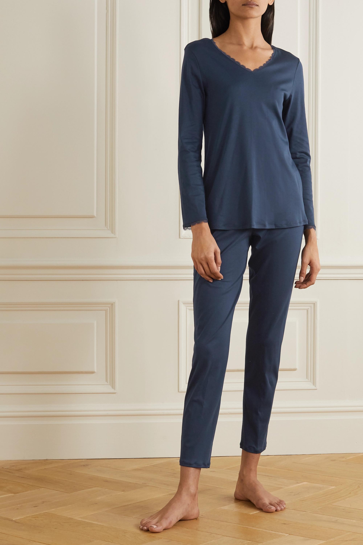 Hanro Bea lace-trimmed mercerized cotton pajama set