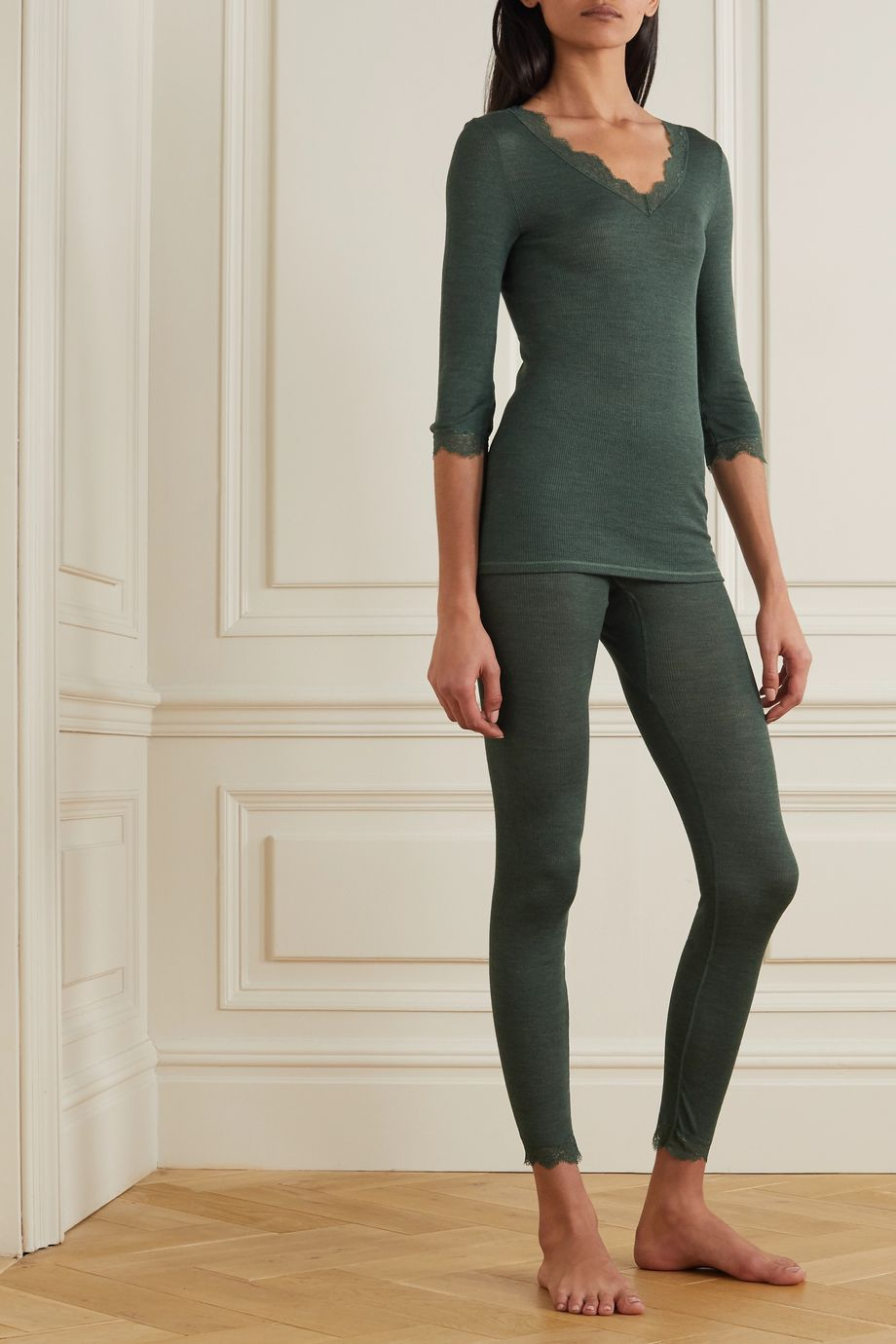 Hanro Woolen lace-trimmed ribbed wool and silk-blend top