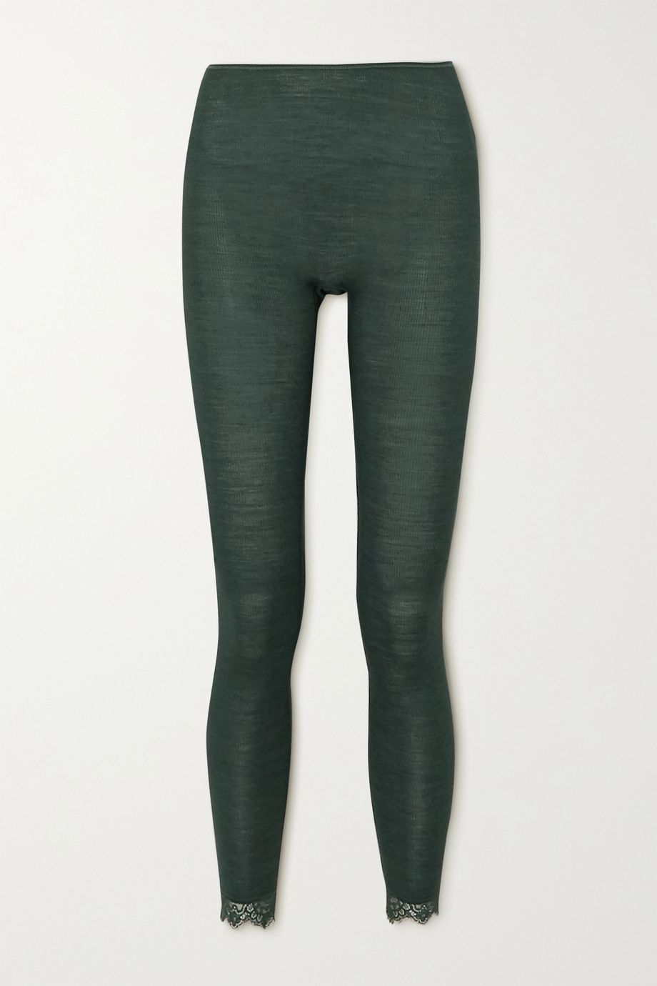 Hanro Woolen lace-trimmed ribbed wool and silk-blend leggings