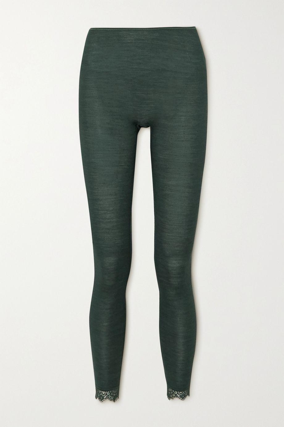 Hanro Woolen Leggings aus einer gerippten Woll-Seidenmischung mit Spitzenbesätzen