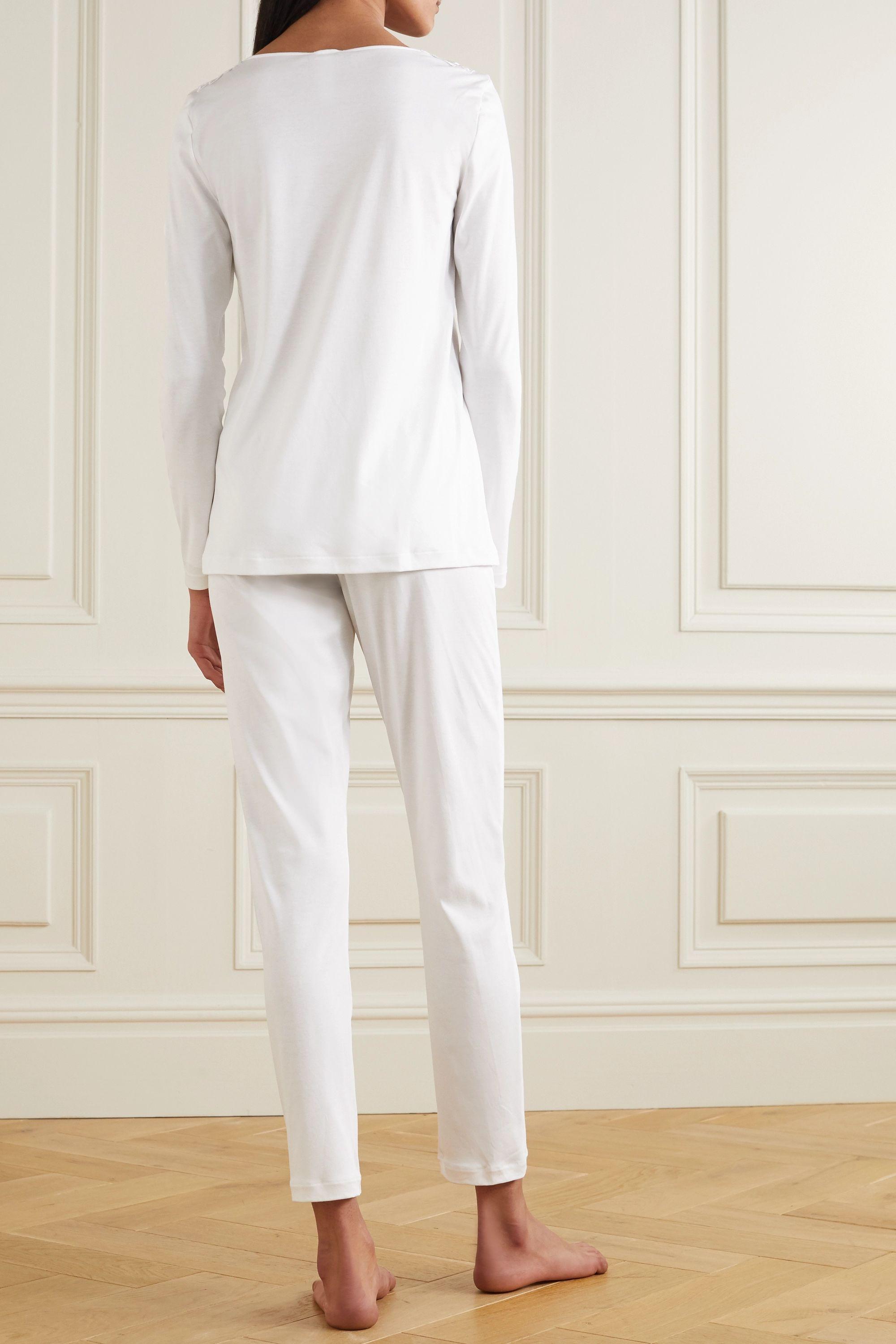 White Madlen Lace-trimmed Mercerized Cotton Pajama Set   Hanro