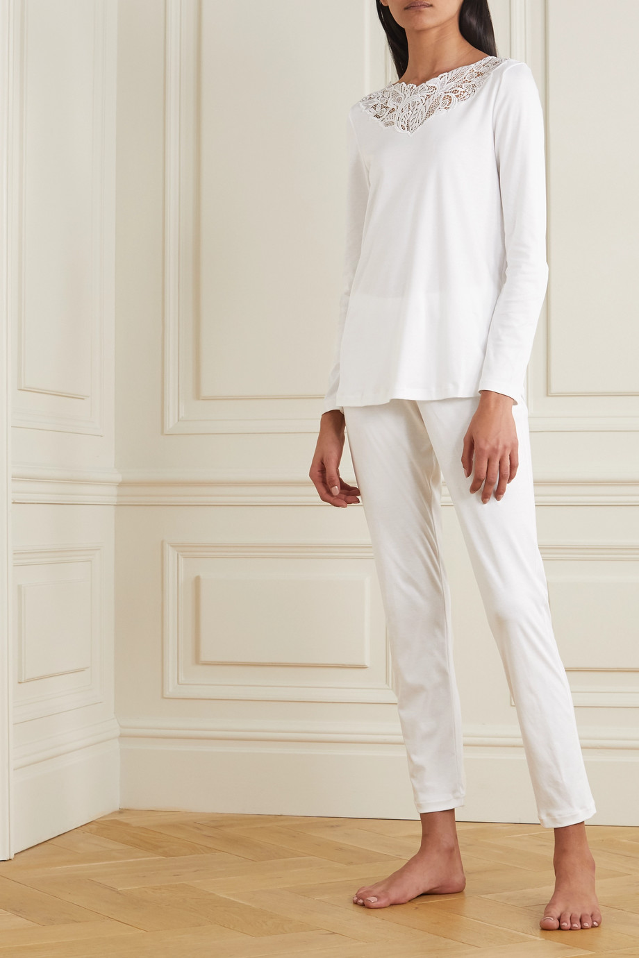 Hanro Madlen lace-trimmed mercerized cotton pajama set