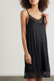Hanro Wanda lace-trimmed modal and silk-blend chemise