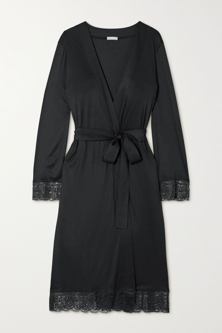 Hanro Wanda lace-trimmed modal and silk-blend robe