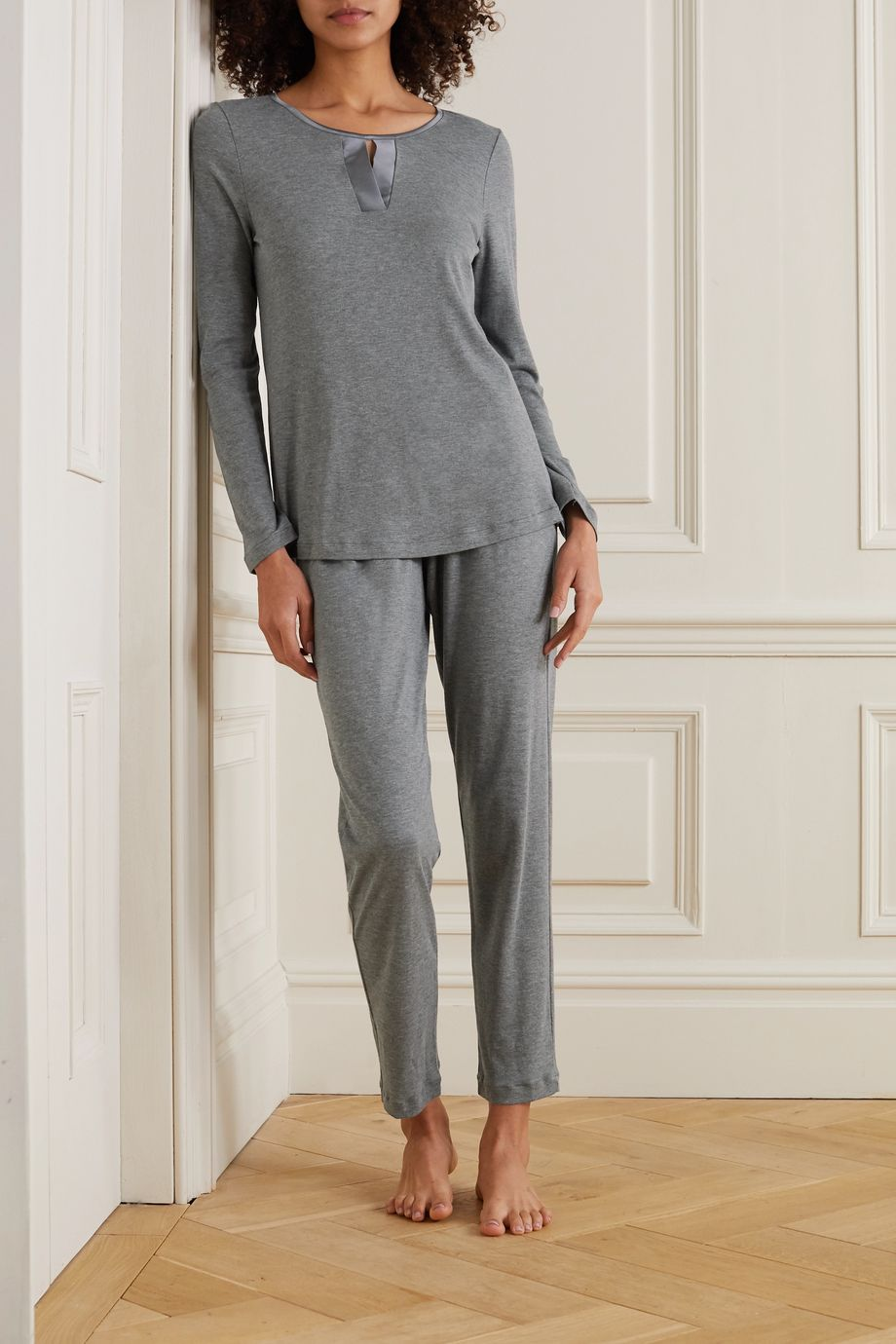 Hanro Fia melangé stretch silk-trimmed cotton and modal-blend pajama set