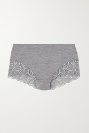Hanro Karla lace-trimmed ribbed wool and silk-blend briefs