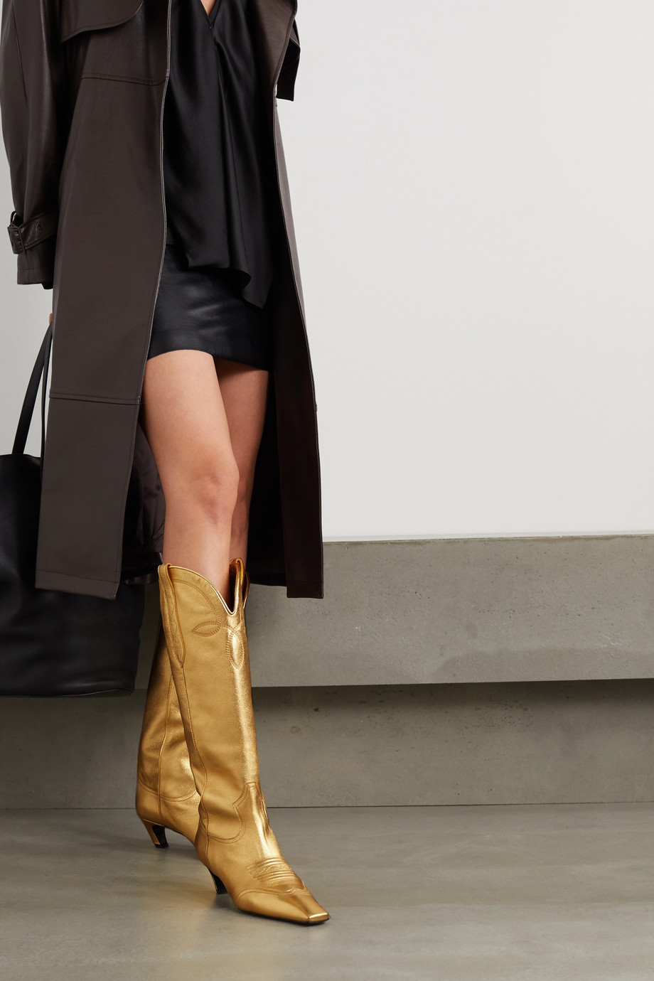 Khaite Dallas metallic leather knee boots