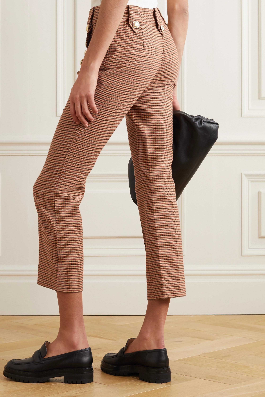 Derek Lam 10 Crosby Corinna cropped button-embellished houndstooth cotton-blend flared pants