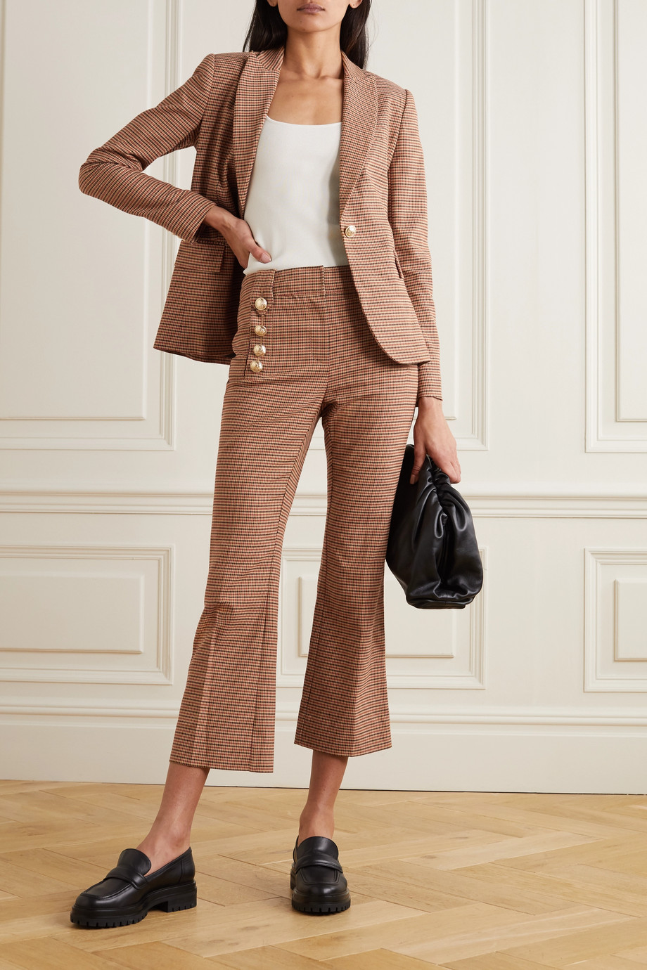 Derek Lam 10 Crosby Corinna cropped button-embellished houndstooth cotton-blend flared pants