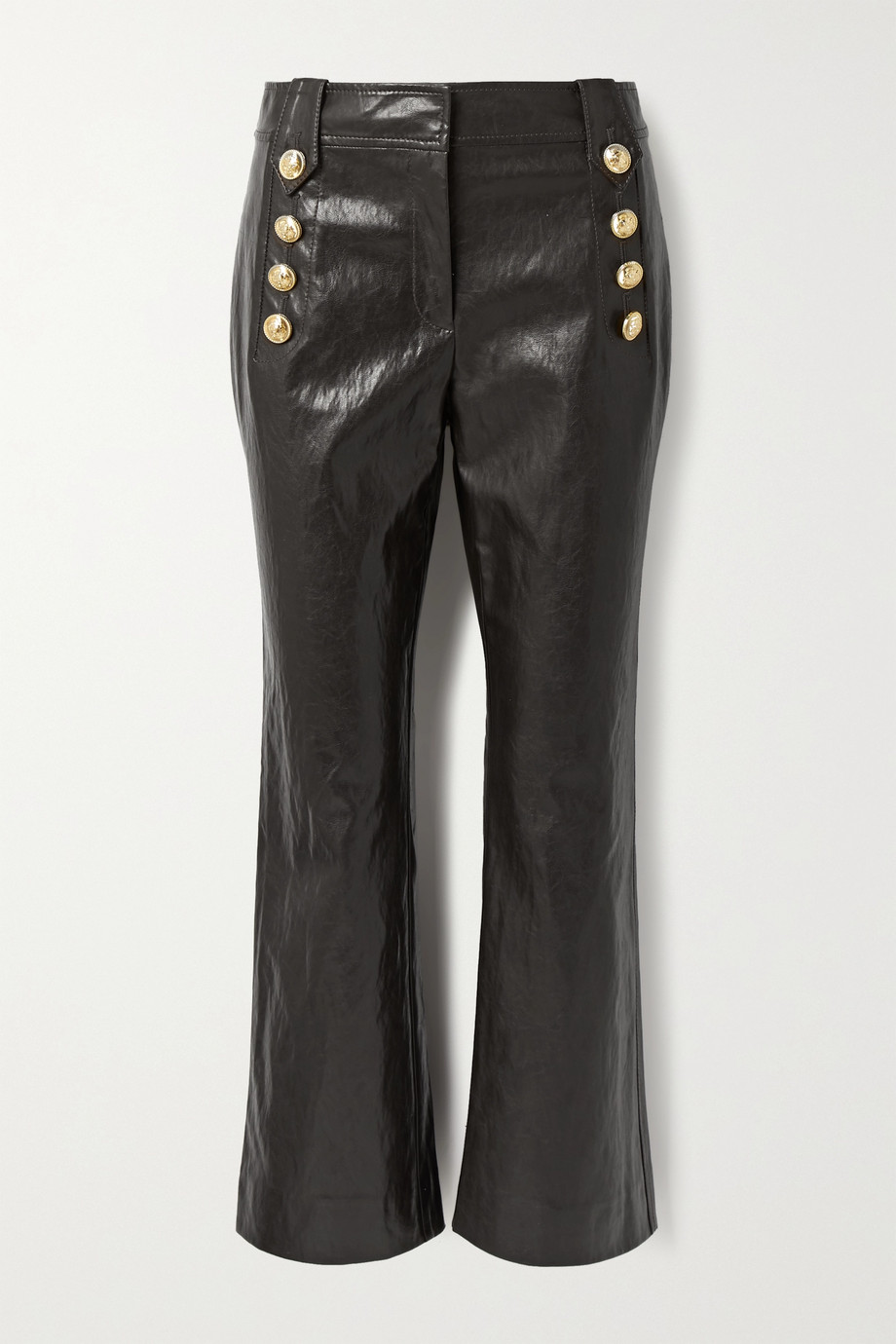 Derek Lam 10 Crosby Corinna button-embellished cropped faux leather flared pants
