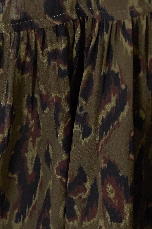 Army Green Sammy Leopard-print Chiffon Midi Dress | Derek Lam 10 Crosby