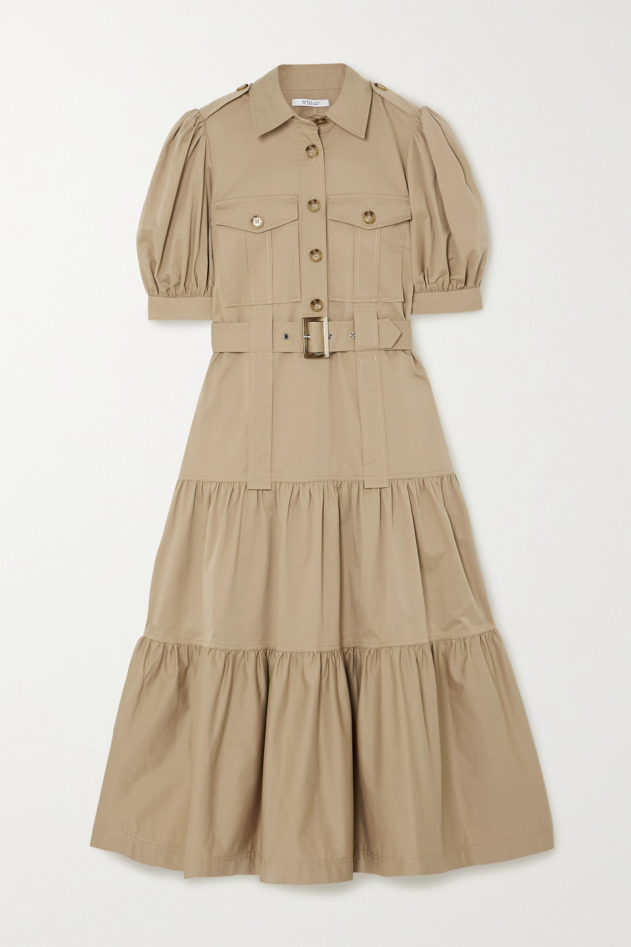 Derek Lam 10 Crosby Buffy belted stretch-cotton twill midi dress
