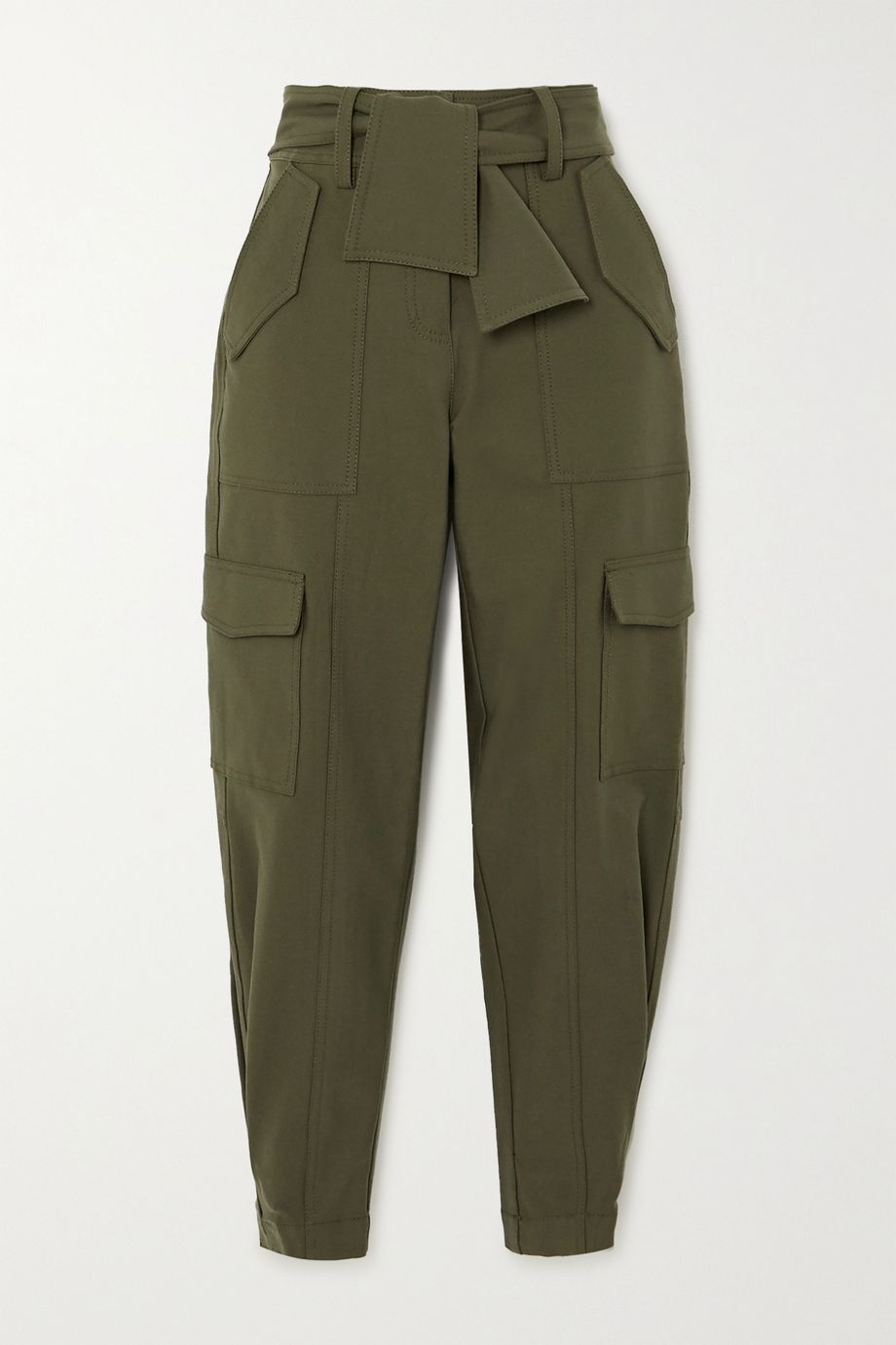 Derek Lam 10 Crosby Elian cropped belted cotton-blend twill tapered pants
