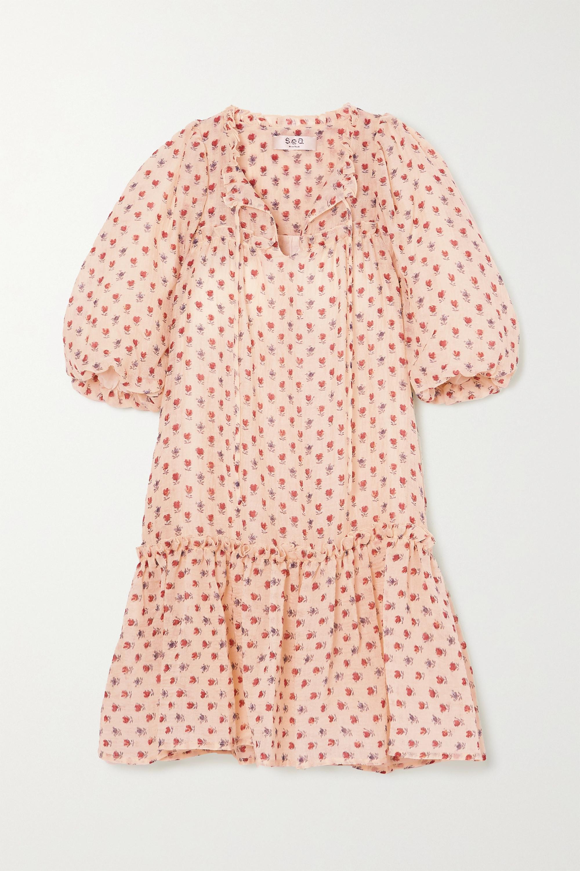 Sea Alexis ruffled floral-print wool-blend gauze dress