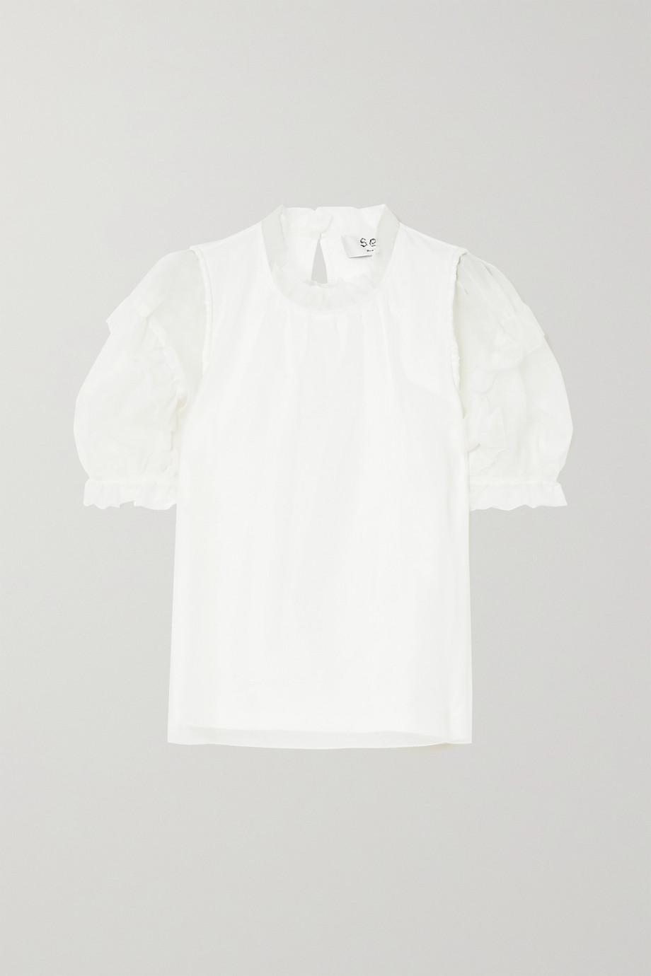 Sea Nuria cotton-jersey and ruffled silk-chiffon blouse
