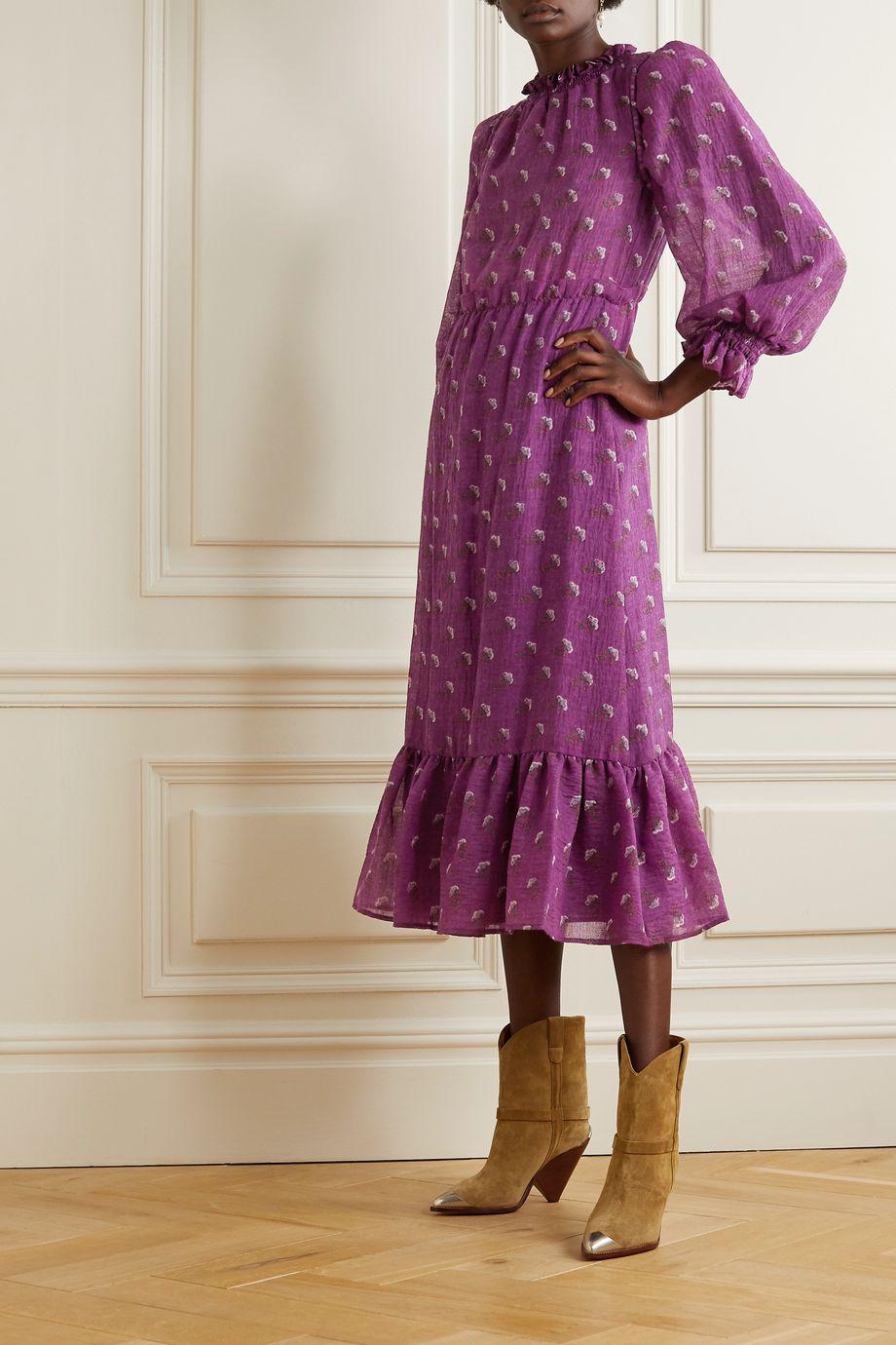 Sea Alexis ruffled floral-print wool-blend midi dress