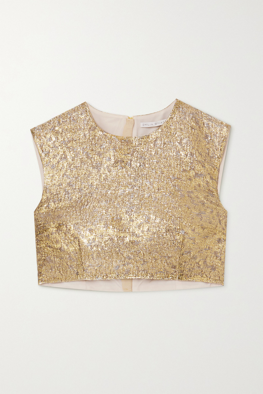 Emilia Wickstead Cropped lamé top
