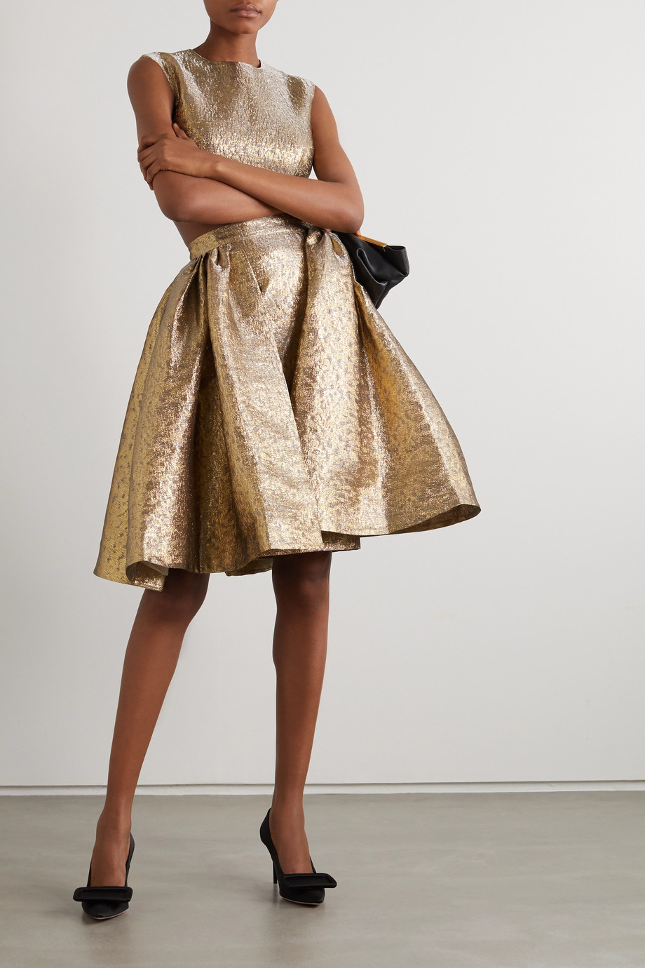 Emilia Wickstead Pleated lamé skirt