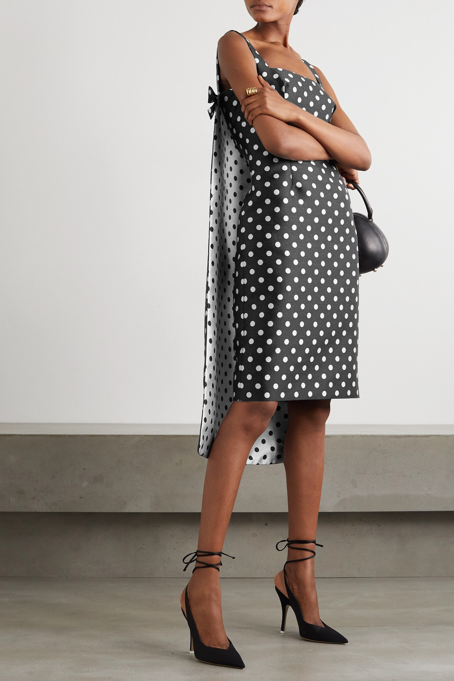 Emilia Wickstead Norrie cape-effect polka-dot jacquard mini dress