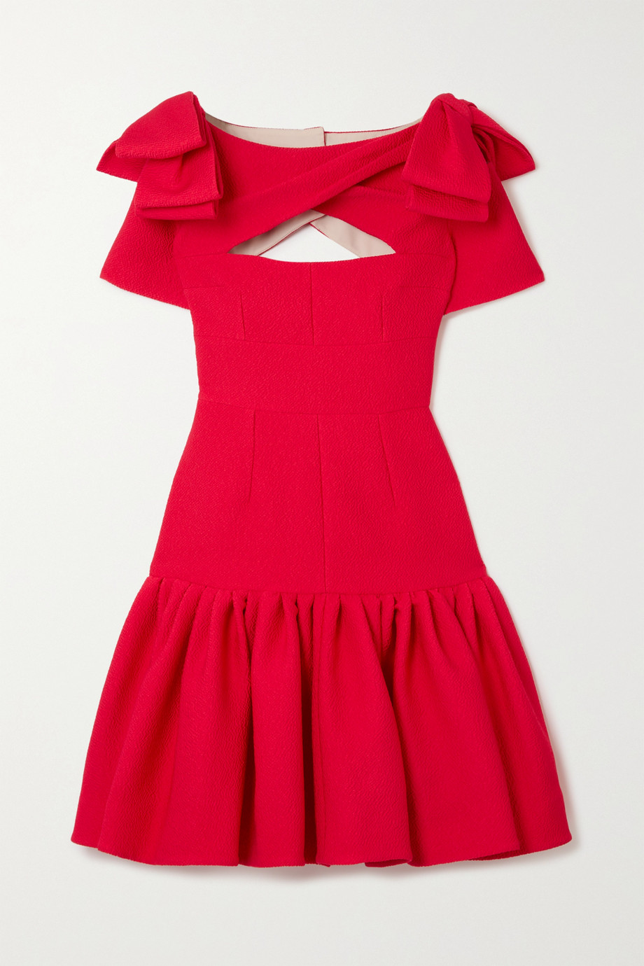 Emilia Wickstead Bow-detailed cutout cloqué mini dress