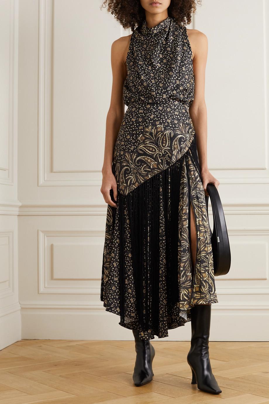 Jonathan Simkhai Dahlia fringed draped paisley-print satin dress