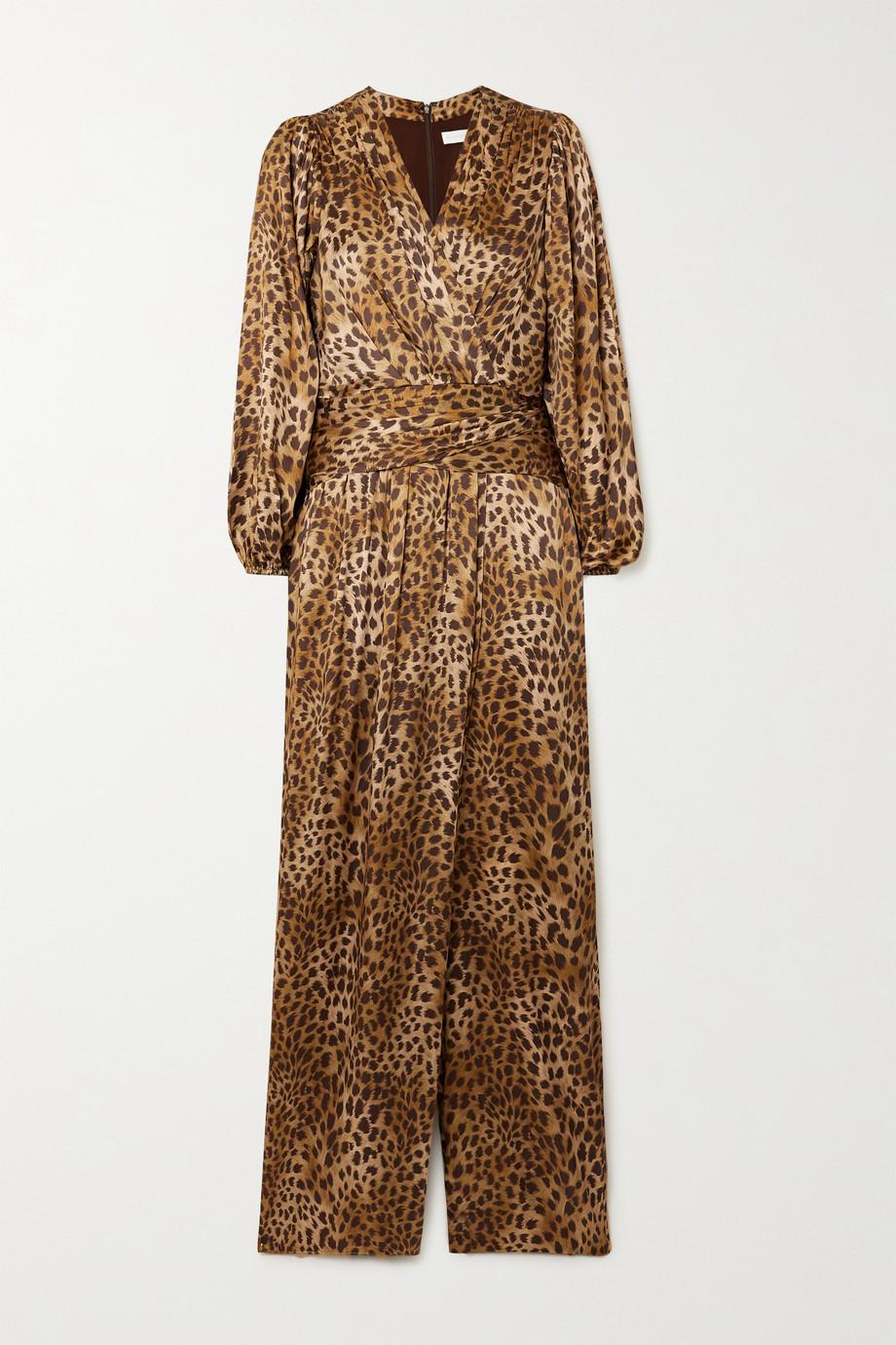 Jonathan Simkhai Combi-pantalon effet cache-cœur en charmeuse de soie mélangée à imprimé léopard Carter