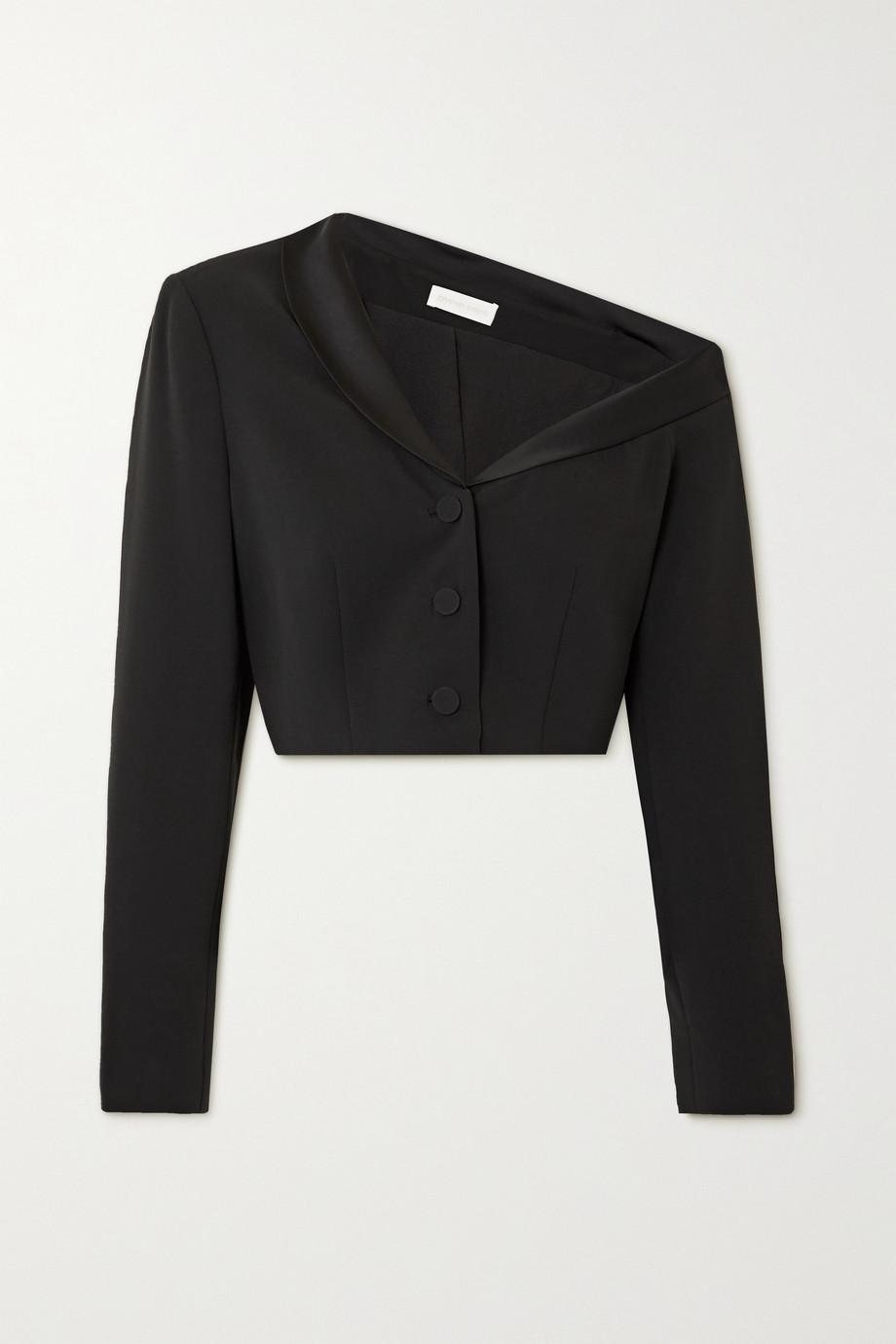 Jonathan Simkhai Sloane one-shoulder cropped satin-trimmed crepe blazer