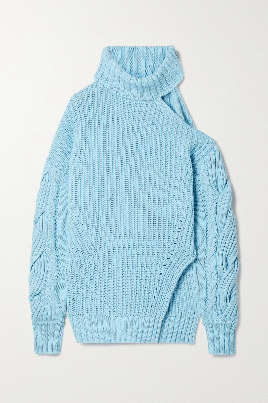 Aubrey cold shoulder ribbed knit turtleneck sweater