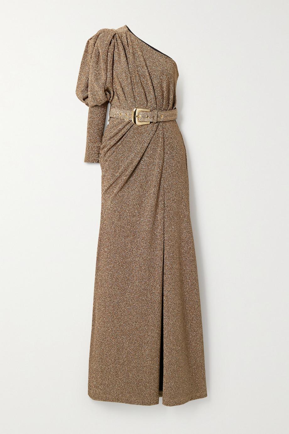 PatBO Geraffte Robe aus Lurex® mit Gürtel und asymmetrischer Schulterpartie