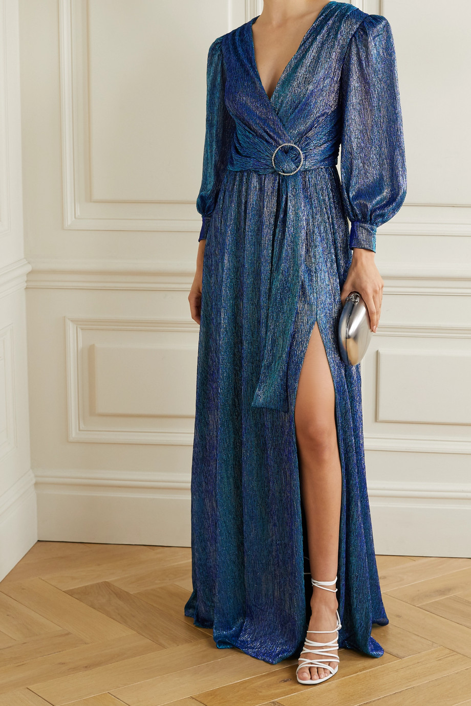 PatBO Crystal-embellished gathered metallic lamé gown