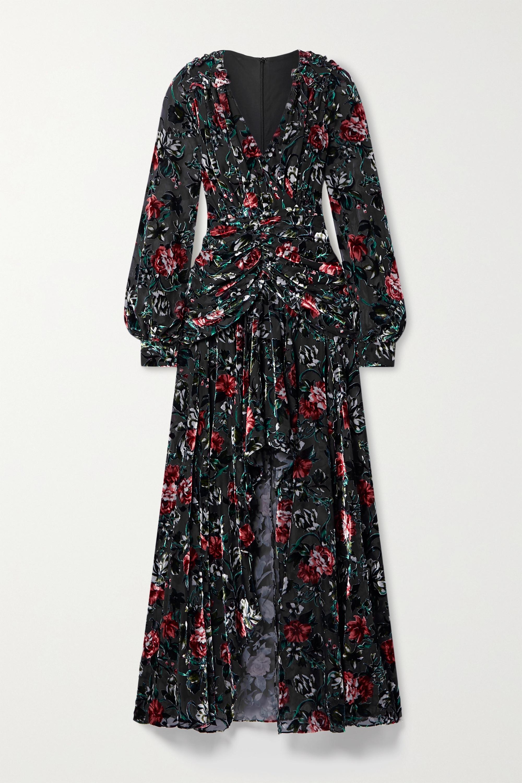 PatBO Ruched ruffled floral-print devoré-velvet gown