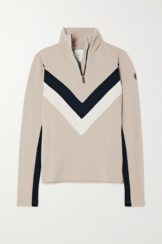 We Norwegians Voss color-block merino wool-blend piqué top