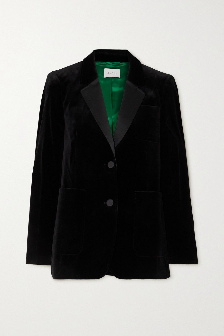 Racil Anais satin-trimmed cotton-blend velvet blazer