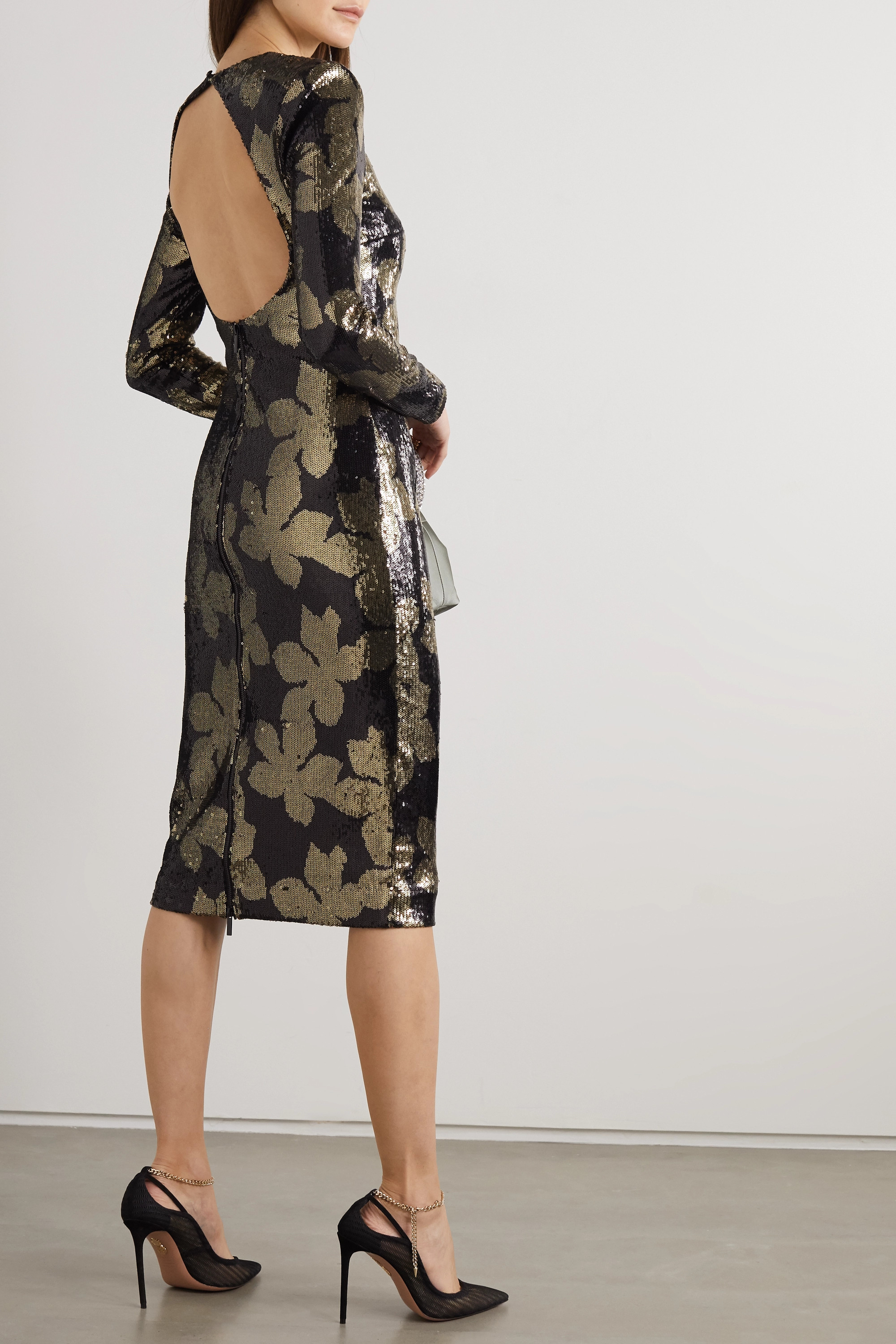 Rebecca Vallance Lepore open-back sequined chiffon midi dress