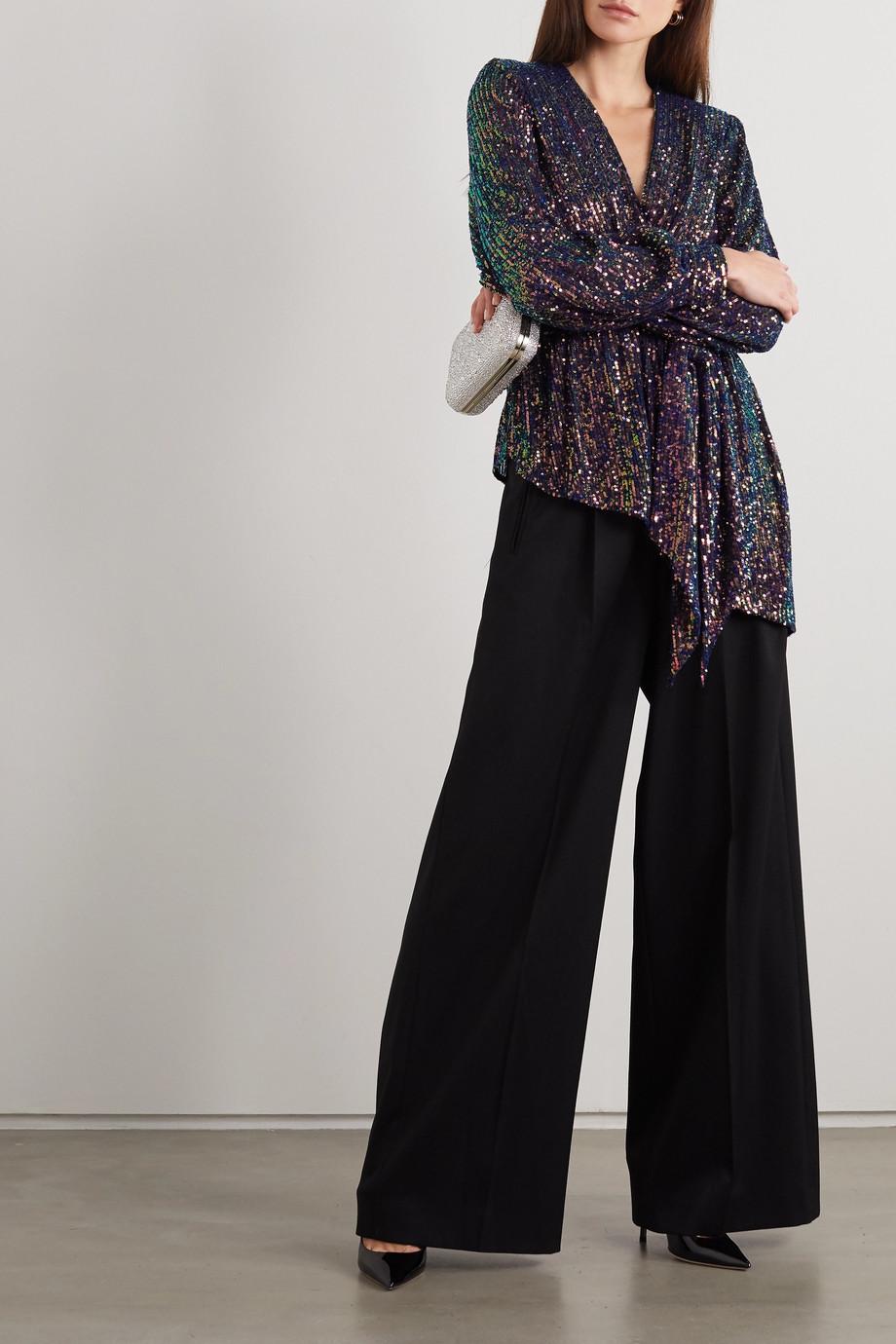 Rebecca Vallance Roxbury wrap-effect sequined crepe top