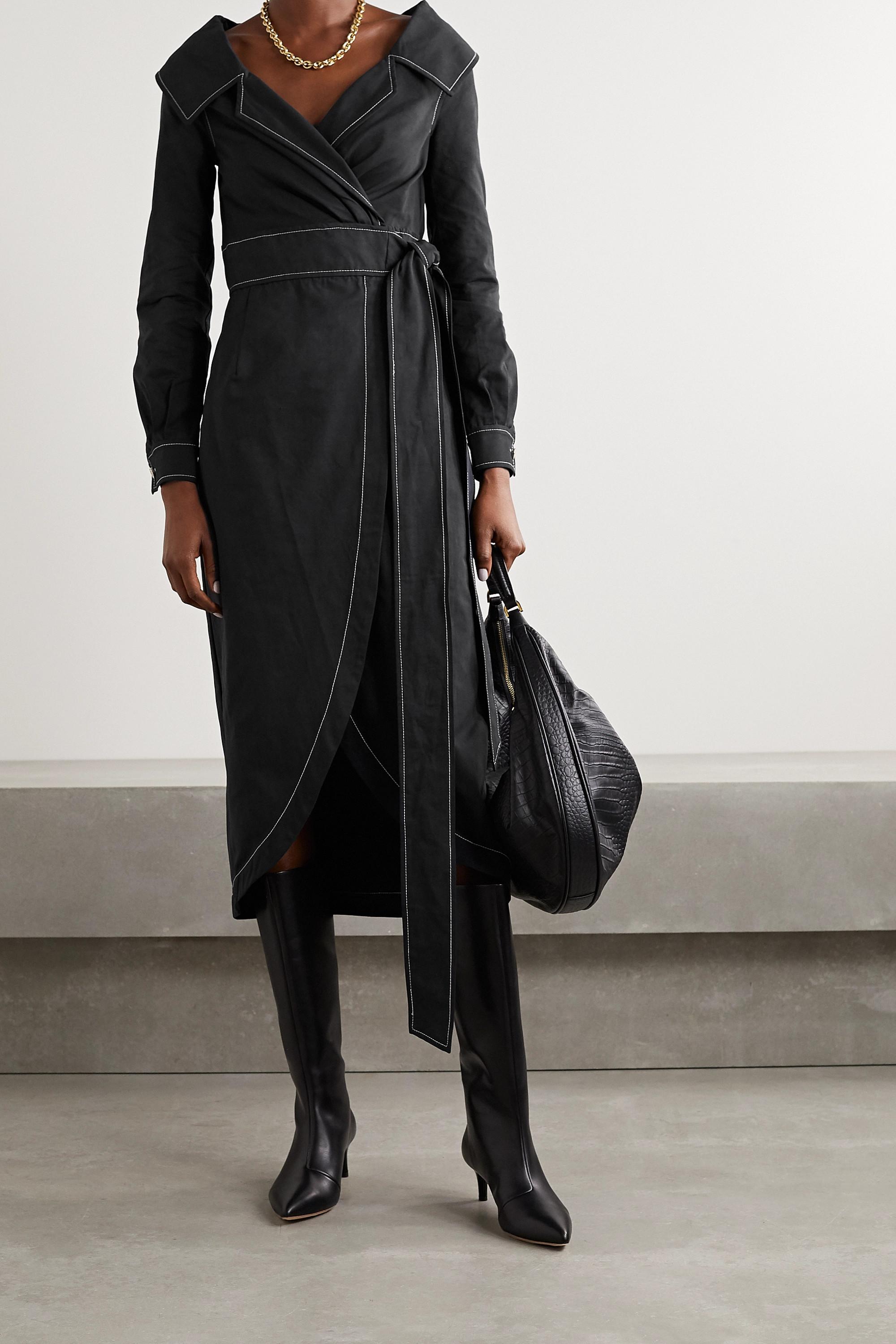 STAUD Jacklyn topstitched cotton-blend twill wrap dress