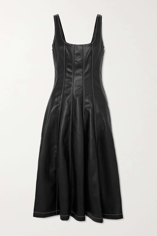 STAUD Wells topstitched faux leather midi dress