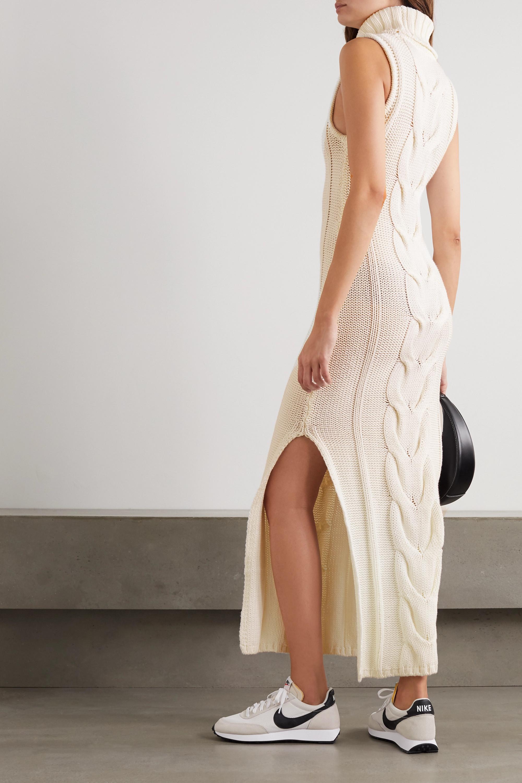 STAUD Aubrey cable-knit cotton-blend turtleneck maxi dress