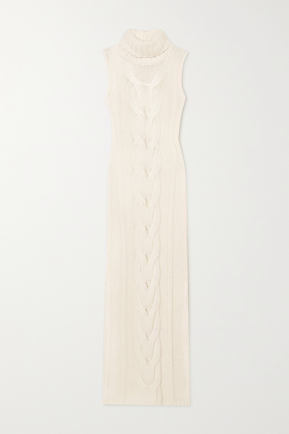 STAUD Aubrey cable-knit cotton-blend turtleneck maxi dress