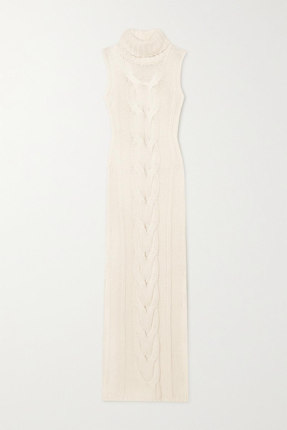 STAUD Aubrey Maxikleid aus einer Baumwollmischung mit Zopfstrickdetails und Rollkragen