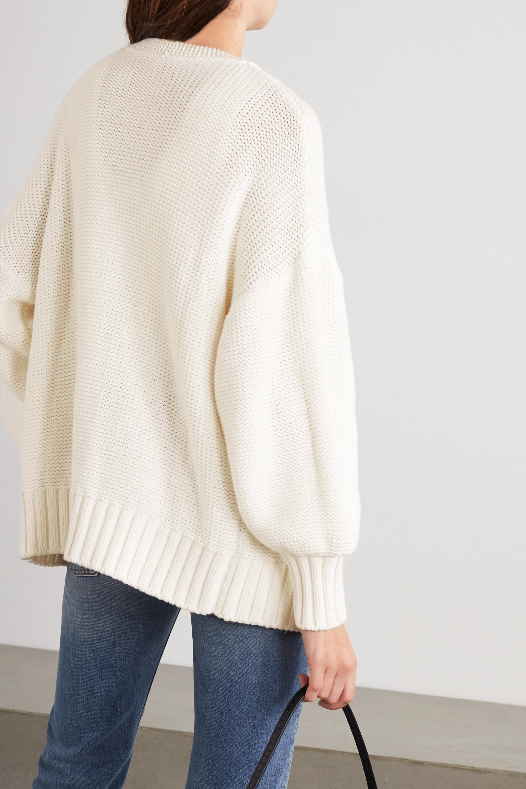 STAUD Blake cable-knit cotton-blend cardigan