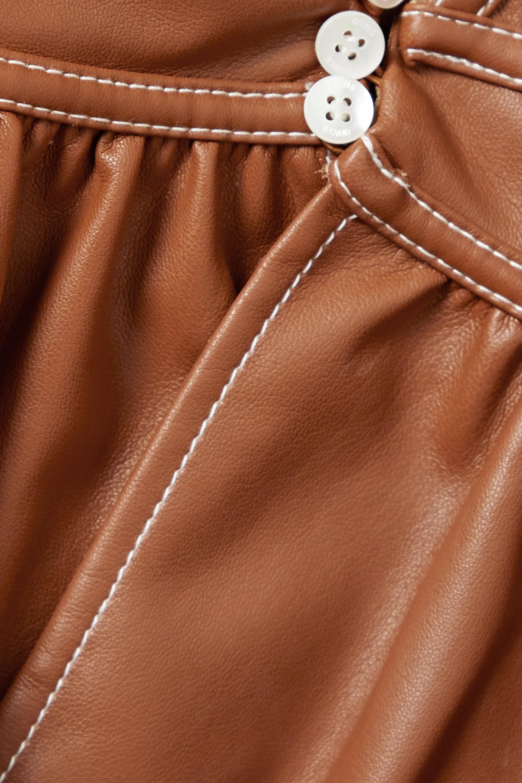 STAUD Luna topstitched faux leather peplum top
