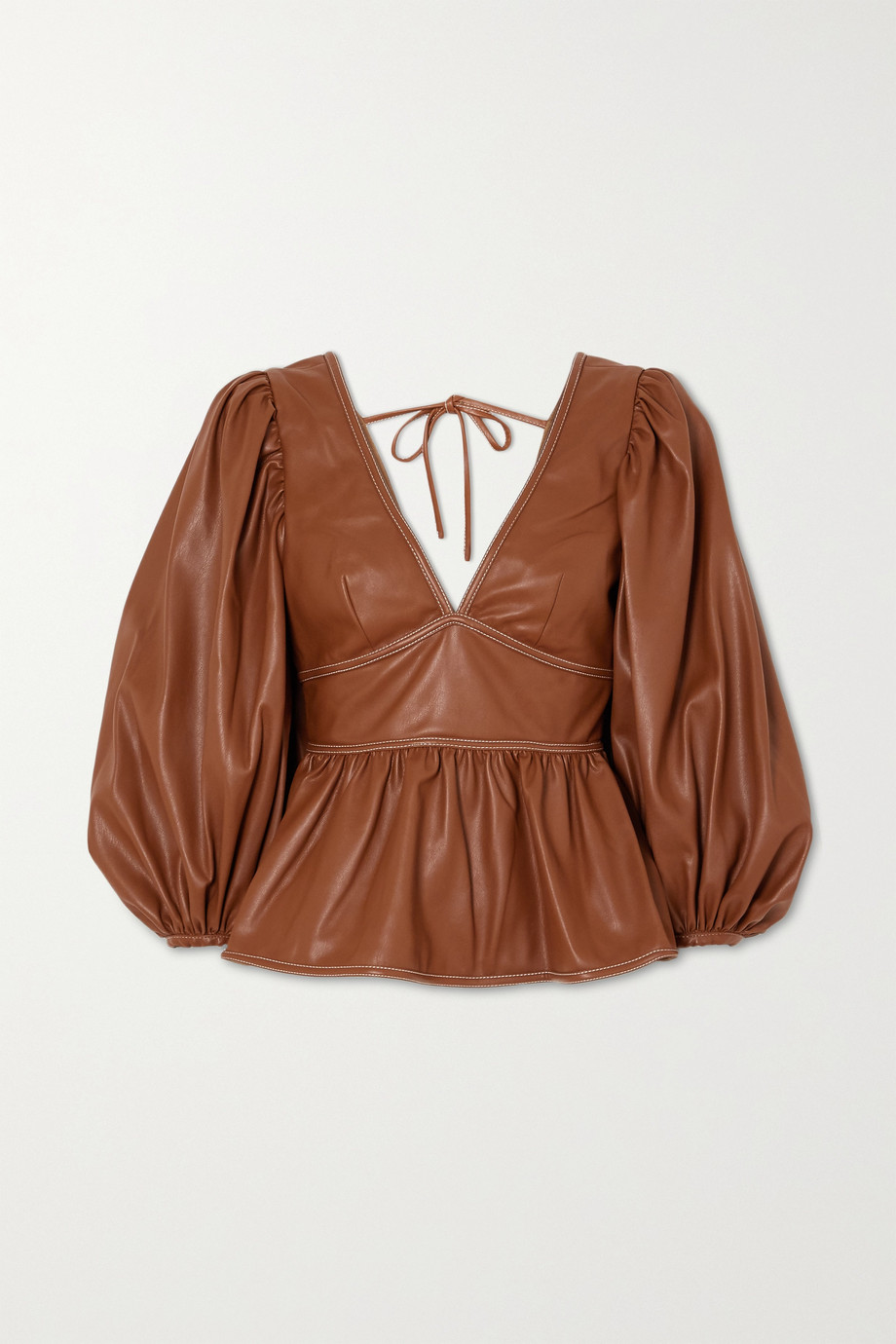 STAUD Luna topstitched faux leather peplum top