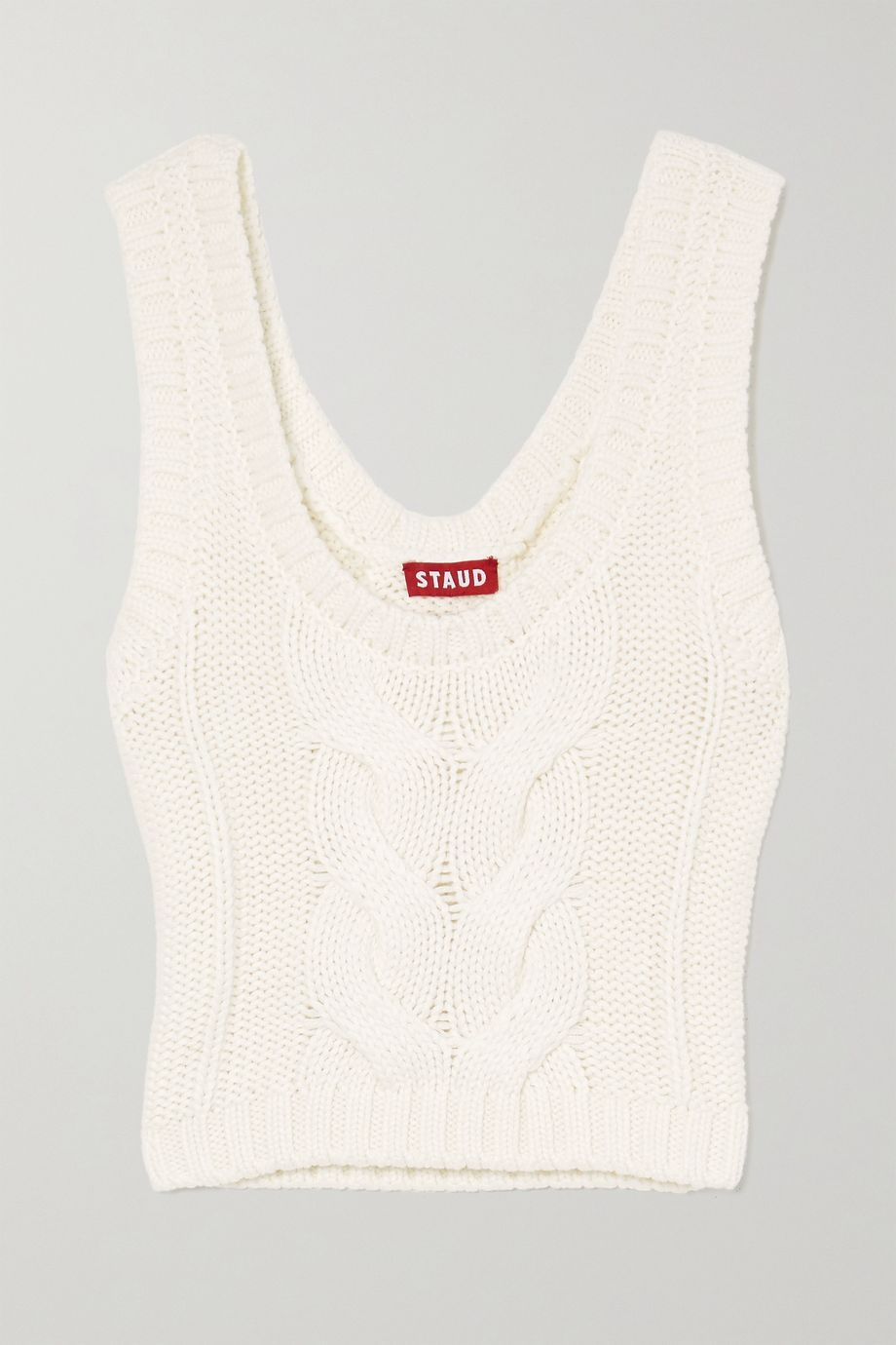 STAUD Kind cropped cable-knit cotton-blend tank
